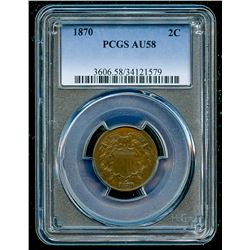 1870 Two Cent Piece (PCGS AU 58)