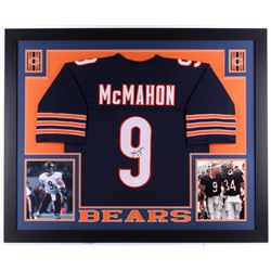 Jim McMahon Signed Bears 35x43 Custom Framed Jersey (JSA COA)
