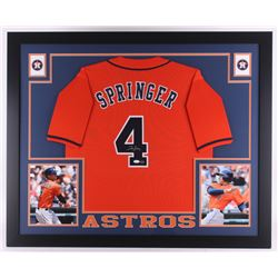 George Springer Signed Astros 35x43 Custom Framed Jersey (JSA COA  GTSM Hologram)