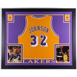 Magic Johnson Signed Lakers 35x43 Custom Framed Jersey (JSA COA)