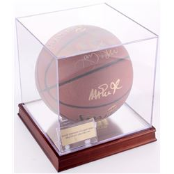 Magic Johnson  Larry Bird Signed Basketball with Display Case (PSA LOA)
