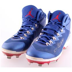 "Dexter Fowler Signed 2015 Cubs Game-Used Pair of Custom Jordan Baseball Cleats Inscribed ""15 GU"" (LO"
