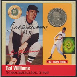 Ted Williams Signed Limited Edition Red Sox 6x6 Photo Display with Pure Silver Proof Coin (Williams