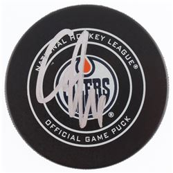 Connor McDavid Signed Oilers Logo Hockey Puck (JSA COA)