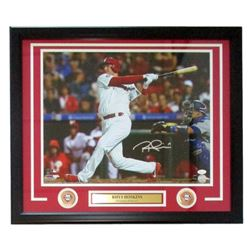 Rhys Hoskins Signed Phillies 22x27 Custom Framed Photo Display (JSA COA)