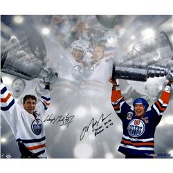 "Wayne Gretzky  Mark Messier Signed LE Oilers Stanley Cup 16x24 Photo Inscribed ""Oilers 79-88, Rang"