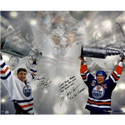 "Wayne Gretzky  Mark Messier Signed LE Oilers Stanley Cup 16x24 Photo Inscribed ""Great Things Happe"
