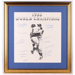 New York Yankees Team-Signed 1956 World Series Champions 22.5x23.5 Custom Framed Lithograph Display