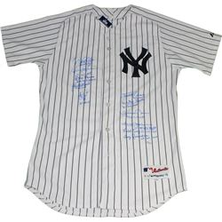 New York Yankees LE World Series MVP Jersey Team-Signed by (10) with Derek Jeter, Mariano Rivera, Wh