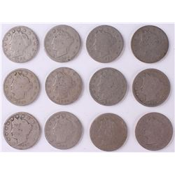 Lot of (12) Liberty Head Nickels with 1883, 1887, 1890, 1896, 1912