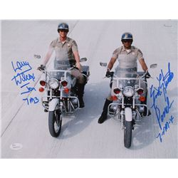"Erik Estrada  Larry Wilcox Signed Chips 11x14 Photo Inscribed ""Jon"", ""7M3"" ""Ponch"",  ""7-M-4"" (JSA CO"