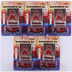Lot of (5) 2003 Fleer Ultra Cleveland Cavaliers 1:64 Scale Hummer H2 Diecast Cars with Lebron James