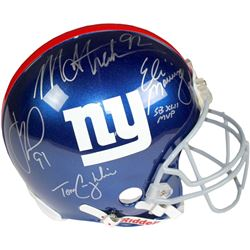 New York Giants Full-Size Helmet Team-Signed by (4) with Eli Manning, Michael Strahan, Justin Tuck