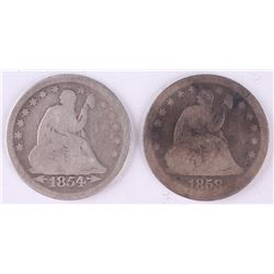 Lot of (2) 1854  1858 Seated Liberty Silver Quarter Dollars