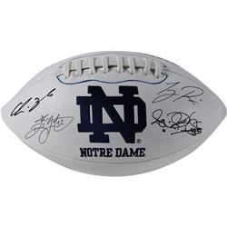 Notre Dame Fighting Irish Logo Football Signed by (6) With Lou Holtz, Ricky Watters, Rocket Ismail,