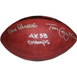 "Bill Parcells  Tom Coughlin Signed Special Edition Gold Foil ""4 Super Bowls"" Logo Football Inscribed"