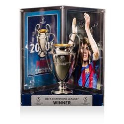 "Lionel ""Leo"" Messi Signed Barcelona 2006 UEFA Replica Trophy Display (Icons COA)"