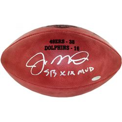 "Joe Montana Signed Custom Engraved Super Bowl XIX Football Inscribed ""SB XIX MVP"" (Steiner COA)"