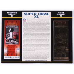 Commemorative Super Bowl XL Score Card with Gold Ticket: Steelers vs. Seahawks