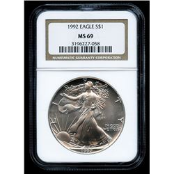 1992 American Silver Eagle $1 One-Dollar Coin (NGC MS 69)