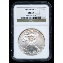 2008 American Silver Eagle $1 One-Dollar Coin (NGC MS 69)
