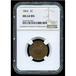 1865 Two Cent Piece (NGC MS 64 BN)