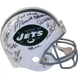 1969 New York Jets Full-Size Authentic Proline Helmet Team-Signed by (24) with Joe Namath, Emerson B