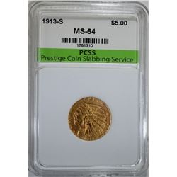 1913-S $5.00 GOLD INDIAN, PCSS CH/GEM BU