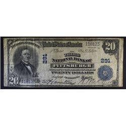 1902 $20.00 NATIONAL NOTE, PITTSBURG PA NICE F+