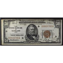 1929 $50.00 FRB NOTE, CLEVELAND, OH VF/XF