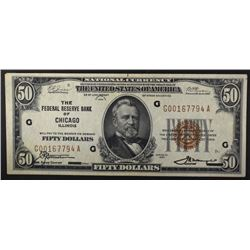 1929 $50.00 FRB NOTE, CHICAGO IL XF