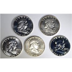 5-GEM PROOF FRANKLIN HALVES: 1959, 2-61 & 2-62