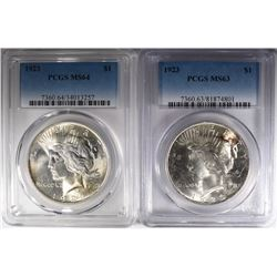 2-PCGS 1923 PEACE DOLLARS: 1-MS-63 & 1-MS-64