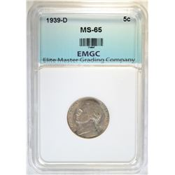 1939-D JEFFERSON NICKEL EMGC GEM BU