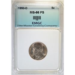 1950-D JEFFERSON NICKEL EMGC SUPERB