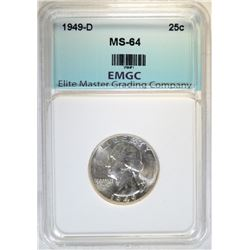 1949-D WASHINGTON QTR EMGC GEM BU