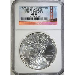 2011(S) AMERICAN SILVER EAGLE $1 NGC MS 70