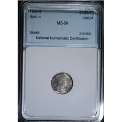 1902-H (SMALL H) SILVER 5 CENTS CANADA