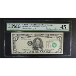 1969 $5 FEDERAL RESERVE NOTE PMG 45
