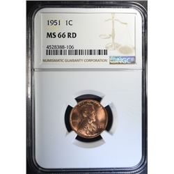 1951 LINCOLN CENT, NGC MS-66 RED