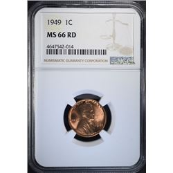 1949 LINCOLN CENT, NGC MS-66 RED SCARCE