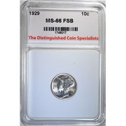 1929 MERCURY DIME, TDCS SUPERB GEM BU FSB