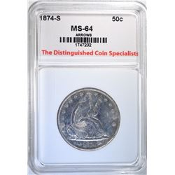 1874-S SEATED HALF DOLLAR, TDCS CH/GEM BU