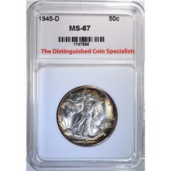 1945-D WALKING LIBERTY HALF, TDCS SUPERB GEM BU