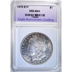 1878 8TF MORGAN DOLLAR, ENG CH+/GEM BU