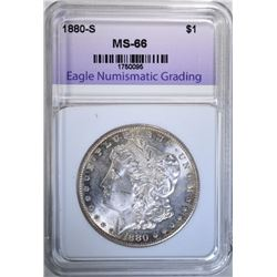 1880-S MORGAN DOLLAR, ENG SUPERB GEM BU