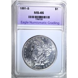 1881-S MORGAN DOLLAR, ENG GEM BU