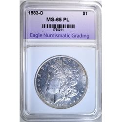 1883-O MORGAN DOLLAR, ENG GEM BU PL