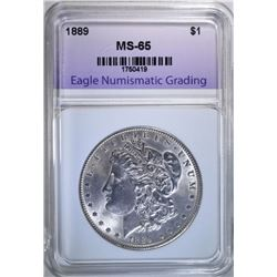 1889 MORGAN DOLLAR, ENG GEM BU
