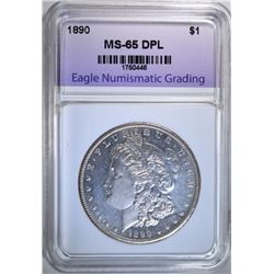 1890 MORGAN DOLLAR, ENG GEM BU DPL